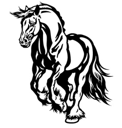 Running draft horse black white vector