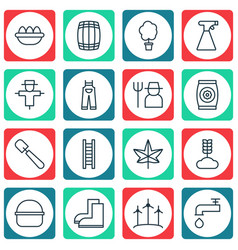 Set of 16 planting icons includes stairway vector