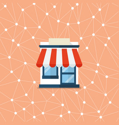 Shop store with network background vector