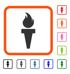 Torch Fire Framed Icon Vector Image
