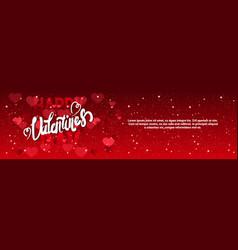 valentine day horizontal banner with handwritten vector image