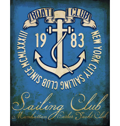 vintage sailing club tee graphic design vector image