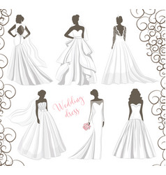 Wedding dress set vector