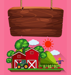 Wooden sign with farm scene in background vector