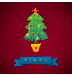 Creative Merry Christmas tree formed from vector image