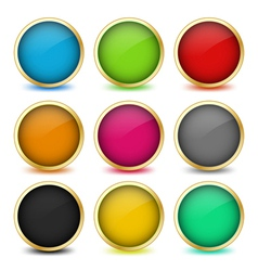 Set of web buttons with golden frames vector
