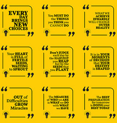 Set of motivational quotes about action goals vector