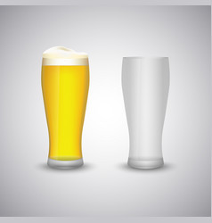 Beer glass empty and full template vector