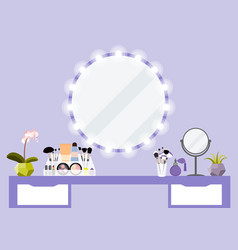 With make-up table mirror and vector
