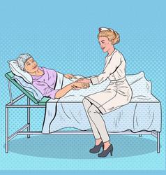 Pop art caregiver holding hand of senior woman vector