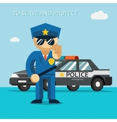 Serve and protect Police officer stands in front vector image