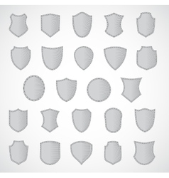 Silver shield design set with various shapes vector