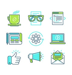 Set of linear icons in trendy style vector