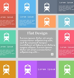 Train icon sign set of multicolored buttons with vector
