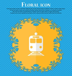 Train floral flat design on a blue abstract vector