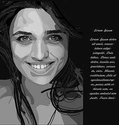 Woman face in black and white colors vector