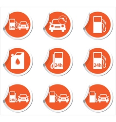 Set of 9 transport orange label vector