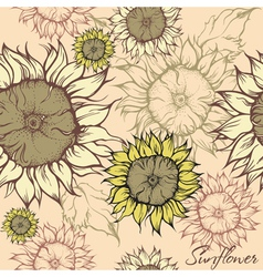 Seamless pattern - field of sunflowers vector