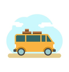Traveler truck on the road outdoor journey camping vector