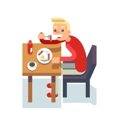 Eat breakfast coffee table chair guy fried eggs vector