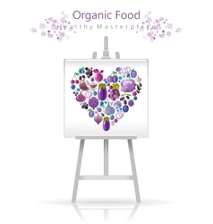 Vegetarian heart on canvas and easel violet and vector