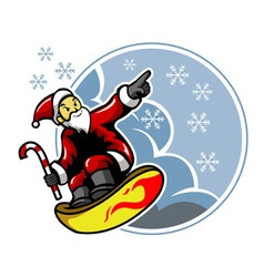 Surfing santa and snowflakes vector
