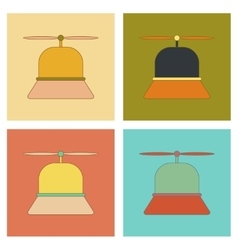 assembly flat icons Kids toy helicopter vector image vector image