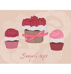 beautiful cupcake card vector image
