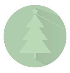 Christmas tree in circle Flat design vector image