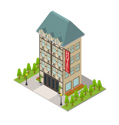 City hotel building isometric view vector