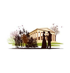 couple in love in the park of Greece vector image