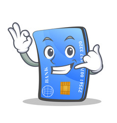 Credit card character cartoon with call me vector