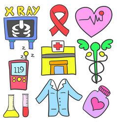 Doodle of medical element collection vector