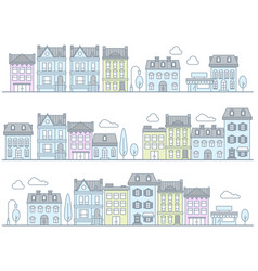 european street with buildings and houses - town vector image vector image