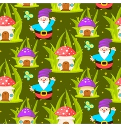 Forest mushroom home and gnomes seamless pattern vector