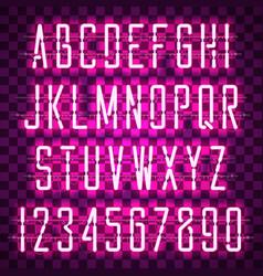 Glowing purple neon casual script font vector