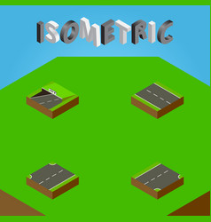 Isometric road set of upwards down subway and vector