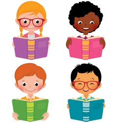 Kids read books vector