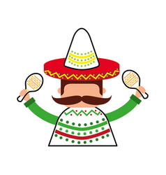 Mexican man with maracas and traditional costume vector