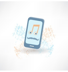 mobile phone with a mustache and music notes icon vector image vector image