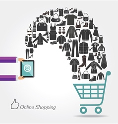Modern technology and online shopping fashion bac vector