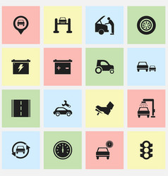set of 16 editable traffic icons includes symbols vector image