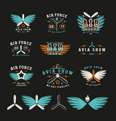 Set of air force and air show emblem and icons vector