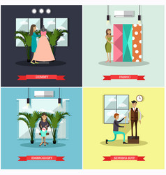Set of fashion atelier square flat posters vector