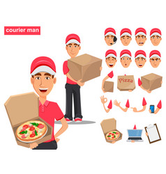 Set of smiling delivery man in red uniform vector