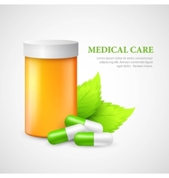 The container and pills Eco medicine vector image