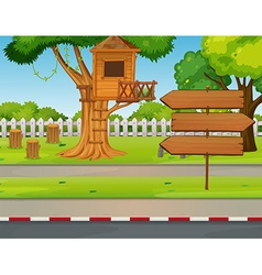 Treehouse and signs in the park vector