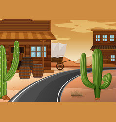 Western town with buildings and cactus vector