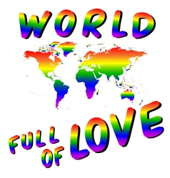 World full of love worldmap into the heart lgbt vector