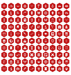 100 archeology icons hexagon red vector